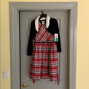 Kids Red & Black Plaid dress with coat. NEVER WORN
